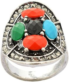 Fashion Multi-Colour Silver Plated festivals Ring for Women,  For Women, Latest