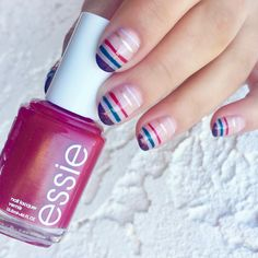 the essies nail art award ambassador, Harli G, created this simple yet chic striped nail art look using essie 'mademoiselle' a sheer pink nail polish and the entire essie 2016 groovy winter collection. (Want more nail art ideas? Visit http://www.essie.com/essie-looks.aspx)
