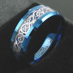 Celtic Tungsten Ring Blue Tungsten Ring Celtic by TemptingJewels