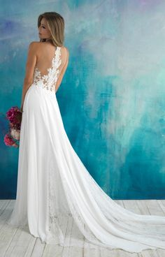 Shop the amazing 9510 Allure Bridals Wedding Gown today! Stunning embroidered appliques cover the sheer bodice of this gown, featuring alternating lace and crepe panels along the skirt. Lace Beach Wedding Dress, Wedding Dress Sizes, Bridal Wedding Dresses, Destination Wedding Dresses, Cruise Wedding Dress, Sophia's Bridal, Mermaid Wedding, Bridal Style, Wedding Ceremony