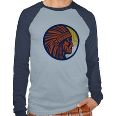 native american indian chief  side view t shirt