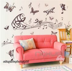 Butterfly Melody Music Note Wall decals Removable stickers home art Room decor