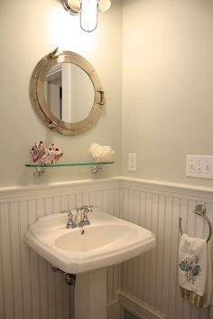 q height for tonge and grove panneling in small bathroom, bathroom ideas, diy, how to, paint colors, small bathroom ideas, wall decor, so here the wainscoting lies above the vanity but below the switches