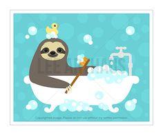 12J Bath Art Sloth Taking Bubble Bath Bathtub Wall Art