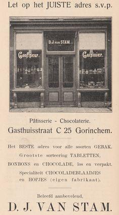 Tijdens de tweede G.A.W.E.T. (Gorinchemse Algemene Winkel-Etalage-Tentoonstelling) van 25-28 september 1923 had banketbakker van Stam een (uiteraard zelfgemaakte) vuurtoren van chocolade op zijn stand in de Doelen staan. Bij deze beurs kreeg elke 500e bezoeker een taart van de Leur en elke 100e bezoeker kreeg een pakje hopjes en een pakje chocoladeblaadjes van banketbakker D.J. van Stam (zijn specialiteit). Hier een foto van de banketbakkerij van D.J. van Stam aan de Gasthuisstraat op…