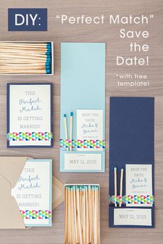 """DIY Wedding // How to make these adorabel """"Perfect Match"""" Save the Date Invitations + free template!"""