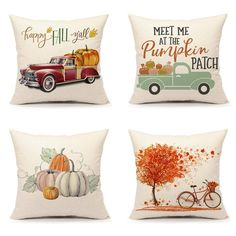 Emotion Set of 4 Fall Throw Pillow Covers Pumpkin Truck Maple Leaves Bicycle Farmhouse Autumn Cushion Case for Sofa Couch 18 x 18 Inches Cotton Linen Vintage Pillow Cases, Vintage Pillows, Decorative Pillow Cases, Throw Pillow Cases, Pillow Covers, Cushion Pillow, Plaid Throw Pillows, Fall Pillows, Maple Leaves