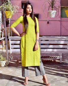 Add to ur cart. Store this superb outfit solely at Pittara. - Suit World Kurta Designs Women, Kurti Neck Designs, Salwar Designs, Kurti Designs Party Wear, Mehndi Designs, Dress Indian Style, Indian Dresses, Indian Outfits, Stylish Dresses