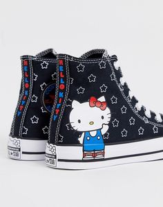 Find the best selection of Converse x Hello Kitty Chuck Taylor Hi star print sneakers. Shop today with free delivery and returns (Ts&Cs apply) with ASOS! Hello Kitty Vans, Hello Kitty House, Hello Kitty Clothes, Hello Kitty Items, Sanrio Hello Kitty, Tenis Converse, Baby Converse, Sock Shoes, Cute Shoes