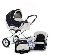 $780.00 Baby Roan Kortina Classic Pram Stroller 2-in-1 with Bassinet and Seat (Navy - Chequered) - Standard features of the Pram Kortina with bassinet and seat unit: useable from birth up to 3 years; comfortable suspension; folding  chassis, for easy handling and transport; height adjustable handle bar (about 27.5 in - 43 in); wheels: 12.5 inch fixed air wheels; one step parking brake; 3 point a ...