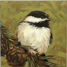 Reserved for Antionette. Chickadee painting Original by LaveryART