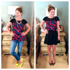 Candace Cameron-Bure showing off two fab ways to style her Stitch Fix floral blouse!