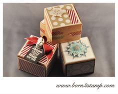 Stampin' UP! Sandfarbene Geschenkboxen mit DSP Stilmix und Eiszauber