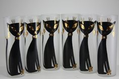 Vintage Mid Century Modern Black Cat Black And Gold by cybersenora, $99.00