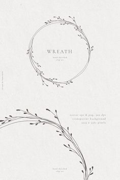 Floral Wreaths Hand Drawn Fine Art Graphic Clipart - Wedding Invitation - Botanical Frames Clipart -