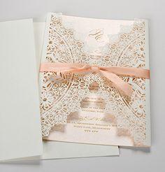 Laser Cut Wedding Invitations UK - Coral Laser Cut - Polina Perri
