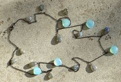 Rem   handmade silver necklace with calcedony and labradorite
