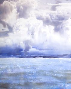 """""""The unhurried splashes of waves"""" watercolor on paper, 76 x 2018 Watercolor Ocean, Watercolor Landscape, Watercolour Painting, Watercolors, Waves, Clouds, World, Drawings, Artist"""