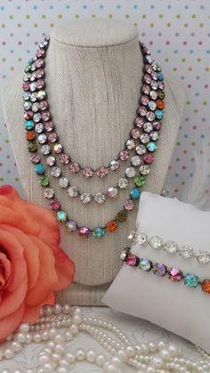 CALLIOPE. 8mm Genuine Swarovski Crystal Necklace. Designer