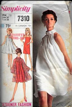 205bc87feb6065 Simplicity 7310 Vintage 1960s Designer Slip Dress And 60s Patterns