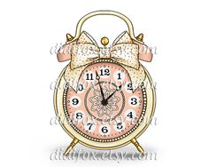 Retro Alarm Clock with Bell and Bow - Printable Digital Illustration for Transfer Print - Clipart ( 8x10), for DOWNLOAD. Item No.T0078