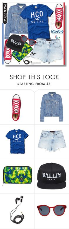 """""""No 442:Pack and Go: Rio"""" by lovepastel ❤ liked on Polyvore featuring Converse, Acne Studios, Hollister Co., Alexander Wang, Monki, Opening Ceremony, Alex and Chloe, DEOS, Ahlem and rio"""