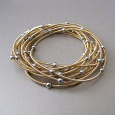 Gold Coil Bracelet with Silver Beads  Set by tangerinejewelryshop, $28.00