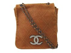 3724d3310a4a Auth CHANEL Jumbo Coco Mark Stitch Chain Shoulder Bag Crossbody Leather  Brown