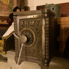 Bank, US Army Safe, Cast Iron, Perfect For Your Loose Change, Very Old by PaintedLadyAntiques on Etsy