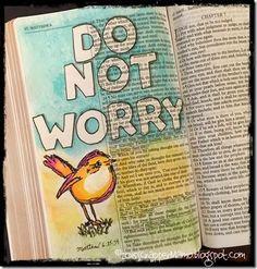 Bible Art Journaling birds do not worry #biblejournaling #bibleverse #donotworry