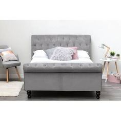 Ophelia & Co. Elba Upholstered Storage Bed & Reviews | Wayfair.co.uk Velvet Upholstered Bed, Upholstered Bed Frame, Headboard And Footboard, Bed Frame With Storage, Under Bed Storage, Ottoman Design, Bed Design, Under Bed Drawers, Ottoman Bed