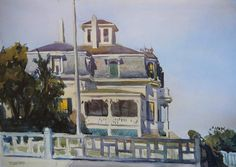 """""""Gloucester Mansions,"""" Edward Hopper, 1923, watercolor, over graphite, on ivory wove paper, 13.85 x 19.92"""", Art Institute of Chicago."""