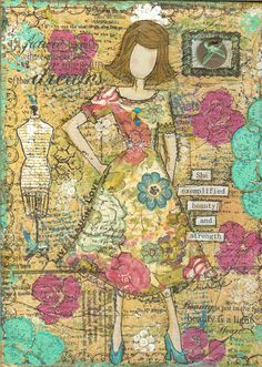 I have combined my love of collage, whimsy and paint in mixed media art on canvas.  I add layers and layers paint, tissue, ephemera, paint and layer stencils, rub-ons and stamps with inspirational quotes and sayings