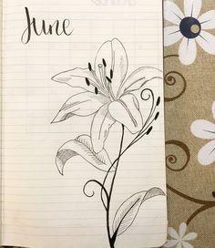 June~ bullet journal~ lilies