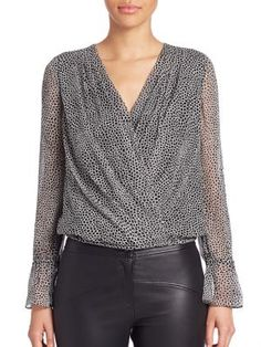 DIANE VON FURSTENBERG Svetlana Silk Wrap Front Blouse. #dianevonfurstenberg #cloth #blouse