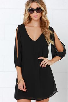 LuLu*s Exclusive! When it's time to shift your gears into glamor mode, the Shifting Dears Black Long Sleeve Dress is our most dearly beloved dress! Black chiffon forms a roomy shift silhouette with a deep, scoop neckline and a flared shape that flows into an asymmetrical, concave hemline. Long, sheer sleeves have on-trend, cold shoulder cutouts that open all the way to the cuffs.