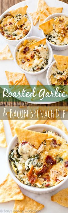 Party appetizer Ideas | Warm & cheesy Roasted Garlic and Bacon Spinach Dip... this recipe had everyone begging for more. The flavors are outstanding!