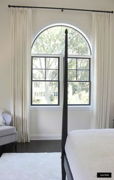 Master Bedroom Arched Window Custom Drapes in Trend Coconut Widths at 125 inches long). Hardware is Aria Abode Collection in Matte Black. Arched Window Coverings, Curtains For Arched Windows, Drapes And Blinds, Window Drapes, Drapes Curtains, Arch Windows, Burlap Curtains, Window Seats, Blackout Curtains