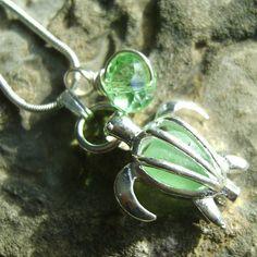 Sea Glass Pendant: Seaglass Turtle Locket by SeaglassDelights