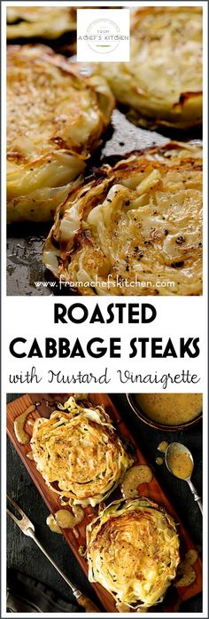 Roasted Cabbage Steaks with Mustard Vinaigrette takes cabbage to a whole new delicious level and turn anyone into a cabbage lover! Vegetable Dishes, Vegetable Recipes, Vegetarian Recipes, Cooking Recipes, Healthy Recipes, Grilling Recipes, Vegetarian Cabbage, Roasted Cabbage Recipes, Cooked Cabbage