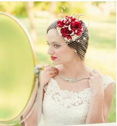 Bridal Floral Crown Fascinator Hat - Red Flowers, Cream Veil and Satin - AVALON.