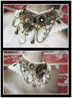 Steampunk Lace Statement Necklace (With images) Viktorianischer Steampunk, Steampunk Crafts, Steampunk Cosplay, Steampunk Design, Steampunk Necklace, Steampunk Clothing, Steampunk Fashion, Gothic Fashion, Style Fashion