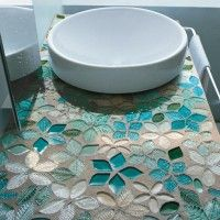 Decoration Ideas: Leaves and Flowers Glass Mosaic