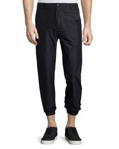 Flat-Front Combo Jogger Pants, Black/Midnight, Men's, Size: 32, Black/Midnight As - Helmut Lang