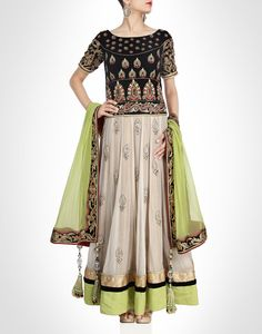 Anarkali with black bodice, enriched with zardosi, sequins and tilla worked sleeves. Shop Now: www.kimaya.in