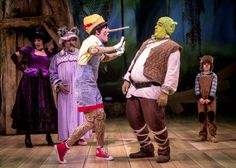 High Res Sarah Page as the Witch, Norm Boucher as the Wolf, Adam Fane as Pinocchio, Michael Aaron Lindner as Shrek, and Cameron Conforti as Baby Bear i