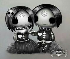 Frightlings: Happy World Goth Day!  Ebony and Eli Gothling.