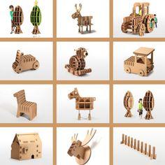 Juguetes de diseño de cartón • Cardboard design toys, by Tsuchinoco-kids