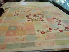 Wild Rose ramble ready for basting by quilting gammy, via Flickr