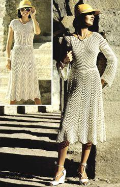 Vintage CROCHET PDF PATTERN Long & Short sleeve Dress 1970. $4.00, via Etsy.
